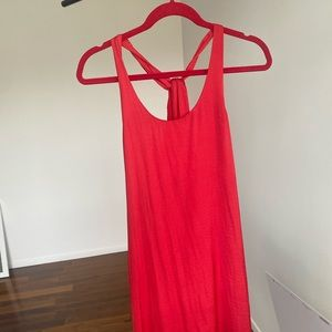 Silky red cover up dress